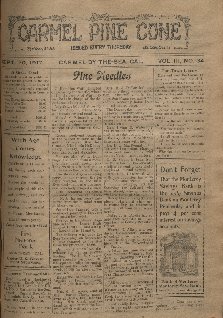Front page of the                 September 20, 1917, Carmel Pine Cone