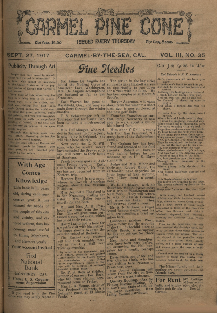 Front page of the                 September 27, 1917, Carmel Pine Cone