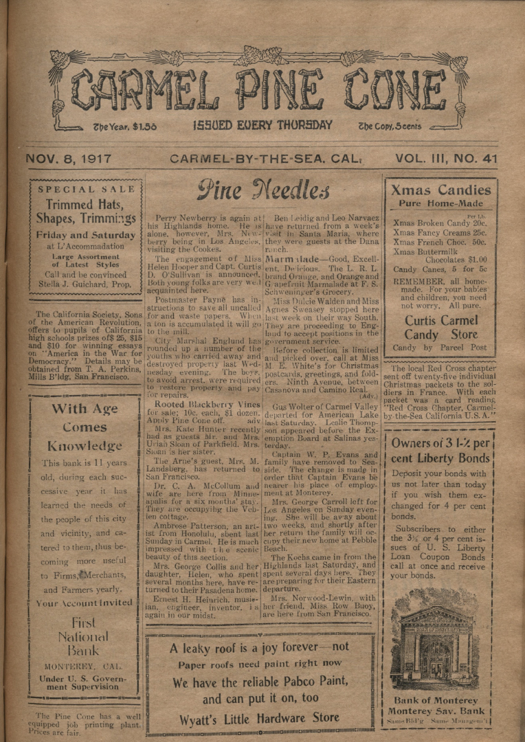 front page of the                 November 8, 1917, Carmel Pine Cone