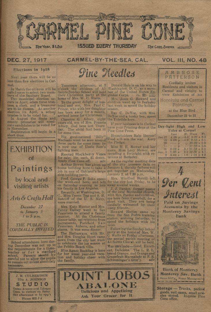 Front page of the                 December 27, 1917, Carmel Pine Cone